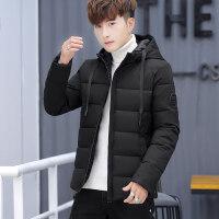 男士冬季外套学生2018新款棉袄韩版潮流帅气连帽加厚棉衣男装 76 黑色
