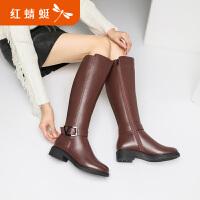 【红蜻蜓1件2折,领�宦�100再减20】红蜻蜓高筒靴女冬季新款时尚女鞋中跟鞋长筒女靴绒里棉靴