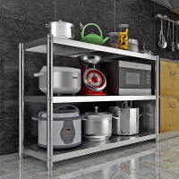 不锈钢厨房置物架落地3多层放锅架子4微波炉收纳架储物架家用货架
