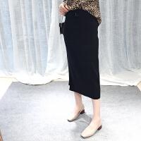 弹力针织包臀半身裙女秋季2018新款韩版休闲系带侧开叉显瘦一步裙 黑色 均码