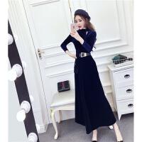 两件套装冬装洋气时尚韩版丝绒镂空上衣高腰大摆灯芯绒半身裙长裙