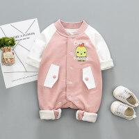 婴儿爬服男女宝宝秋季新款连体衣新生儿卡通时尚哈衣0-12个月婴儿长袖爬服XM-3