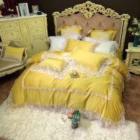 伊迪梦家纺 100支纯色蕾丝花边色织纯棉四件套六件套全棉 法式公主风贡缎长绒棉床上用品套件YM81