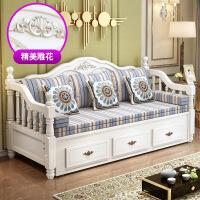 【品质推荐】沙发床两用 欧式实木沙发床可折叠客厅小户型双人1.5米1.8米多功能坐卧两用伸缩床 1.8米-2米