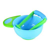 婴儿研磨碗套装宝宝食物研磨器辅食工具宝宝辅食研磨碗 宽柄蓝绿色