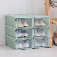 【好货】透明鞋盒鞋子收纳盒塑料鞋盒子简易鞋箱子收纳箱 抹茶绿 6个装