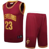 篮球训练服 男士篮球服套装 骑士队23号詹姆斯球服裤刺绣