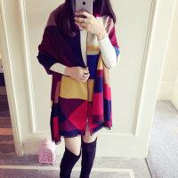欧美防羊绒围巾拼色双面保暖加厚披肩两用超长超大围巾女士冬季