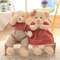 毛绒玩具情侣泰迪熊压床娃娃一对结婚新款创意送新人情人节礼物女 红色格子一对:磁铁款 送玫瑰花 60厘米-65厘米