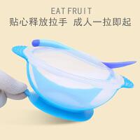 W新生儿辅食碗感温软头勺套装宝宝学吃饭吸盘碗掉餐具幼儿专用O