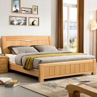 【新品热卖】全实木床1.8米1.5原木大床北欧双人床现代简约榉木主卧婚床 +乳胶床垫+2个G303床头柜 1500mm*