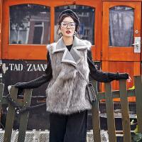 2018秋冬新款皮毛一体马甲女短款冬季韩版毛呢麂皮绒毛毛马夹外套 灰色