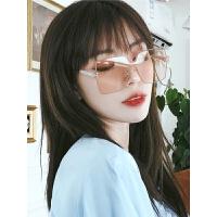 太阳镜女士潮人街拍复古黑墨镜大框方形彩色沙滩遮阳眼镜