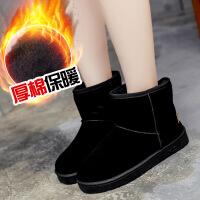 鞋子女冬季加绒新款韩版学生百搭雪地靴短筒平底棉鞋保暖短靴