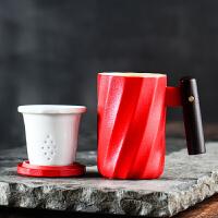 单人办公室简易泡茶杯个人专用茶水分离水杯陶瓷茶漏过滤马克杯子