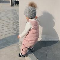 婴童装冬季儿童男童宝宝背带羽绒裤加厚女童外穿婴儿保暖裤 粉色 现货