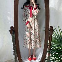 春季韩国森女系清新撞色花边碎花连衣裙娃娃领套头雪纺长袖中长裙