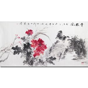 齐白石再传弟子 中国著名花鸟画家陈墨斗――赏春图