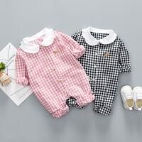 婴儿爬服婴儿外出服连体衣女童可爱娃娃领格子爬服韩版公主满月服1-12个月XM-5