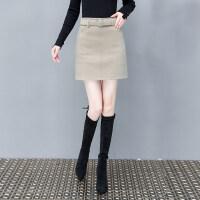 毛呢半身裙女2018冬季新款ins超火的高腰百搭a字裙呢子包臀裙短裙