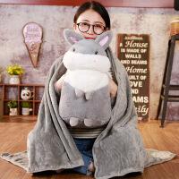 兔子卡通午睡枕头汽车抱枕被子两用靠垫被大号空调被靠枕毯办公室 抱枕50*25cm+毯子1*1.7米