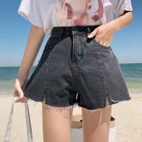 三木子快时尚女装~牛仔短裤女夏高腰毛边阔腿裤韩版宽松牛仔热裤