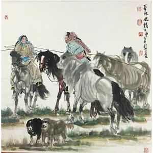 吴团良《草原风情》著名画家