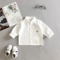 2018春秋装1新款2男童长袖白色衬衫4儿童3岁宝宝小孩薄款衬衣ZQ03 白色
