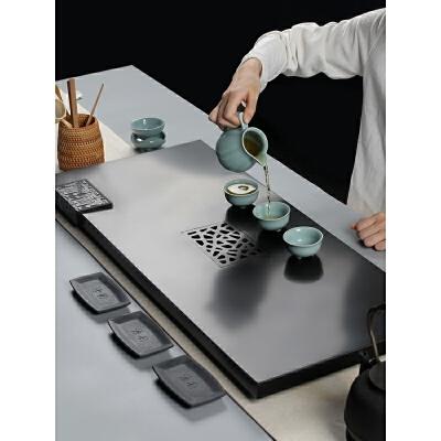 天然整块乌金石茶盘套装大号家用简约茶台茶海排水功夫茶具  (套装版) 简洁风格设计排水顺畅做工精细