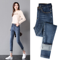加绒牛仔裤女新款韩版显瘦高腰紧身九分小脚裤加厚冬季长裤子