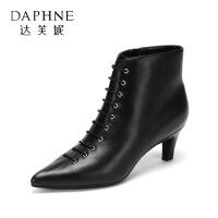 Daphne/达芙妮冬新款时髦性感小尖头绑带猫跟踝靴短靴女靴子-