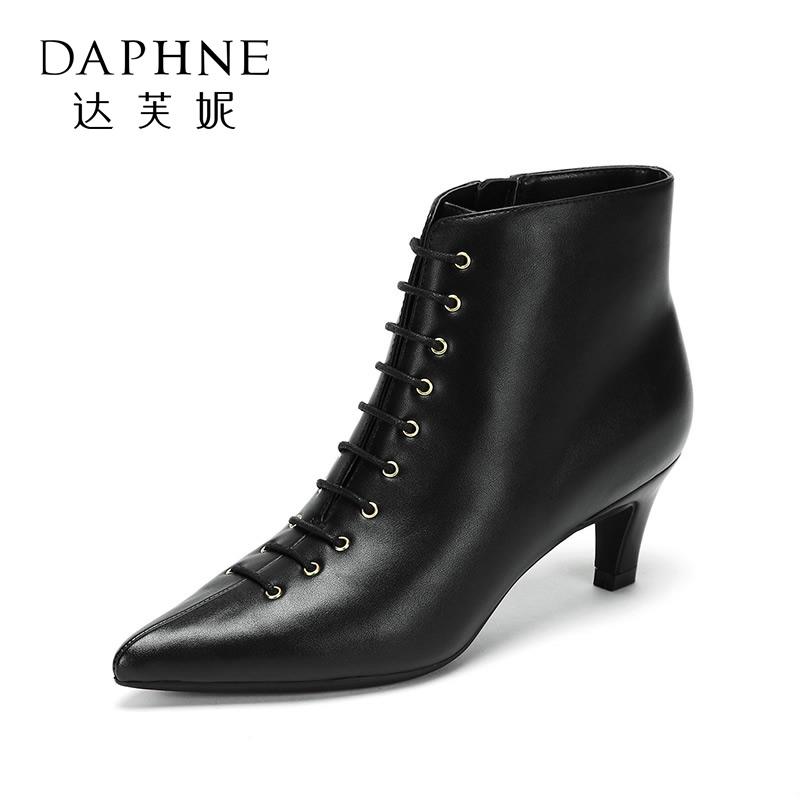 Daphne/达芙妮冬新款时髦性感小尖头绑带猫跟踝靴短靴女靴子- 支持专柜验货 断码不补货
