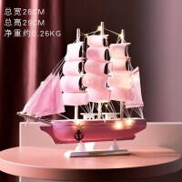 一帆风顺帆船少女心一帆风顺帆船工艺品仿真实木小木船模型装饰摆件毕业季礼物