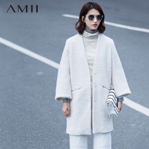 AMII[极简主义]冬新品直筒大码V领拉链口袋毛呢外套11571973