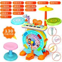 男女宝宝电子琴架子鼓玩具儿童音乐乐器1-3-6岁初学爵士敲打鼓 豪华版琴鼓二合一(可连手机、双供电、送耳机、话筒)
