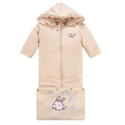 婴儿抱被秋冬新品 秋冬有机彩棉婴儿睡袋加厚不分腿加长防踢被可拆洗加厚睡袋wk-59 天然棕