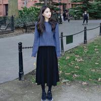 秋冬季2018新款山本风桔梗连衣裙气质复古毛衣配吊带裙子两件套装 毛衣+裙子两件套