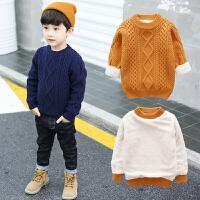 男童毛衣秋冬加绒加厚1-2-3岁儿童小童线衣套头打底衫针织衫冬装