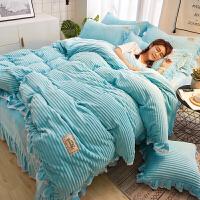 魔法绒四件套加厚保暖珊瑚绒床单兔兔绒加毛绒被套床上用品冬季-yn定制