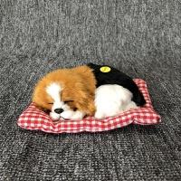 玩具开学季会叫仿真小睡狗模型狗摆件礼品布垫小睡狗皮毛玩具