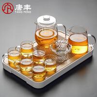 唐丰玻璃茶具套装耐热茶壶竹制干泡盘家用花茶泡茶器茶漏茶杯套组