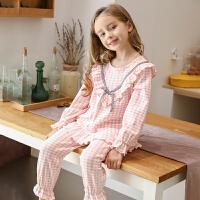 儿童睡衣女童长袖格子家居服套装春秋季薄款公主小女孩中大童