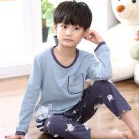 小孩儿童中大童夏季空调服亲子家居服套装男童睡衣春秋季棉长袖睡衣
