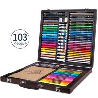 六一儿童节520得力儿童绘画文具套装礼盒画画工具小学生初学者手绘水彩笔画笔油画棒彩色铅笔水彩颜料美术 75403绘画礼
