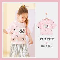 迪士尼女童短袖T恤2021夏季新款洋气打底衫儿童宝宝卡通针织上衣