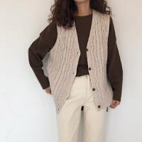 2019春季韩国女装宽松V领麻花针织马甲开衫百搭显瘦毛衣背心上衣