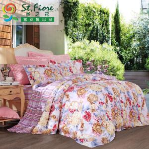 [当当自营]富安娜家纺纯棉四件套1.5米1.8米床印花套件 粉黛嫣然 粉色 1.5m