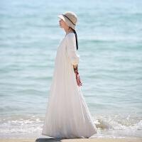 棉麻白色民族风连衣裙女春2020新款中长款复古海边度假沙滩裙裙子