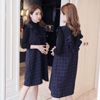 孕妇装秋冬季套装裙2018新款韩版连衣裙潮妈背心裙毛衣两件套