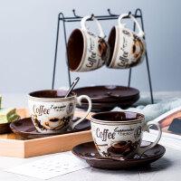 欧式小咖啡杯碟套装创意手绘陶瓷杯子简约咖啡套具